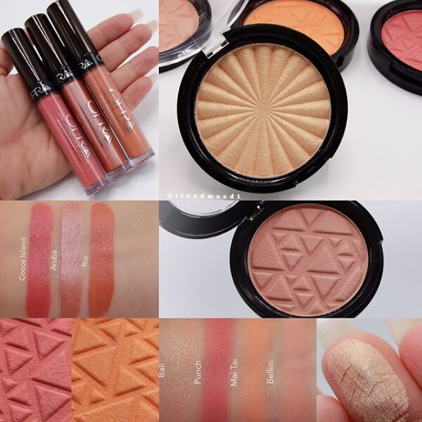 More Swatches Love The Choice Of Colors Peaches Pinks Glow Perfect For Summer2017 Swipe To The Left For More Pictures Ofracosmetics Island Time Includes 3 New Blushes Mai Tai Bellini And